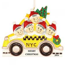 nyc taxi family of 5 personalized ornament