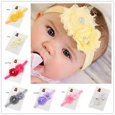 newborn hair bows 1pcs yellow chiffon and shabby duo flower headband newborn hair