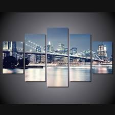 brand new hd printed brooklyn bridge at night painting modern home