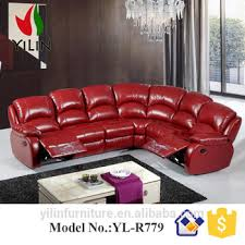 foshan furniture factory drawing room red color electric leather