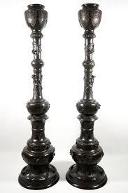 Japanese Floor Lamp A Pair Of Very Tall Japanese Bronze Floor Lamp Columns Meiji