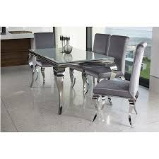 Silver Dining Table And Chairs Louis 160cm White Dining Table Set With 4 Silver Velvet Louis