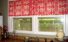 curtains shabby chic kitchen curtains with red floral pattern