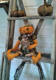 primitive pumpkin pumpkin doll handmade doll primitive doll