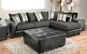 Black Microfiber Ottoman Reversible Sectional Sofa Chaise Reversible Sectional With Ottoman