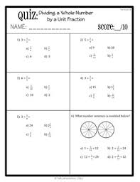 dividing a whole number by a fraction fractions quiz whole number by fraction 5 nf 7b assessment