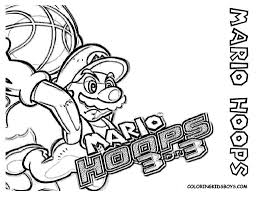 super mario hoops coloring sheet pages book for boys bebo pandco