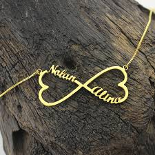 Infinity Name Necklace Wholesale Heart Infinity Name Necklace Gold Color Love Heart