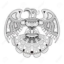 mystery bird totem coloring page in exquisite style royalty free
