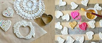 lace hearts made with air clay make beautiful