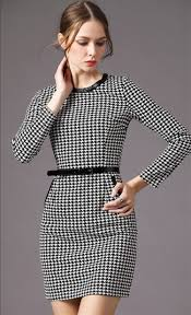 women u0027s classic black and white houndstooth fitted dress with belt