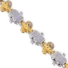 gold skull bracelet men images Diamond skull link bracelet 14k two tone gold 2 06 ct 8 75 quot jpg