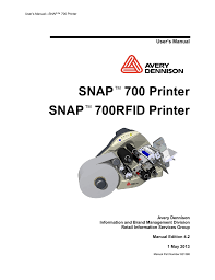 avery dennison snap 700 user s manual