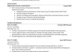 Sample Journalism Resume by Sample Resume Broadcasting Television Reentrycorps