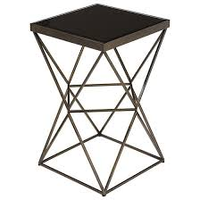 Black Accent Table Square Geometric Base Accent Table