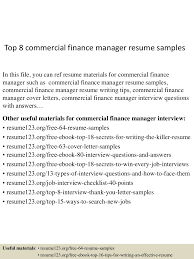 Commercial Manager Resume Top8commercialfinancemanagerresumesamples 150516093139 Lva1 App6891 Thumbnail 4 Jpg Cb U003d1431768753