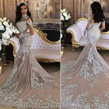 designer wedding dresses gowns 2018 silver mermaid wedding dresses high neck sleeves
