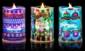 themed candles 3 led christmas themed candles groupon goods