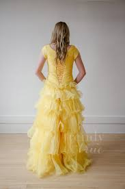 layered ruffle yellow modest prom dress u2013 your company name