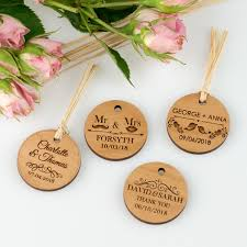 wedding gift tags engraved wooden wedding circle gift tags personalised favours