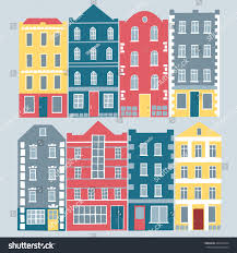 European Style Houses by Set European Style Colorful Cartoon Buildings Stock Vector