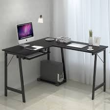 corner computer desk with keyboard tray stylish minimalist corner computer desk black color with keyboard