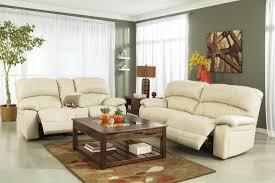 Leather Reclining Sofa Set by Damacio Cream 2 Seat Power Reclining Sofa From Ashley U9820147