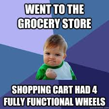 Grocery Meme - went to the grocery store shopping cart had 4 fully functional