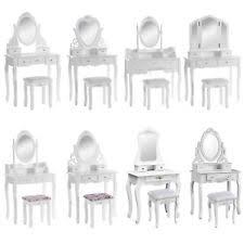 coiffeuse blanche si e avec miroir inclus coiffeuses pin pour la maison ebay