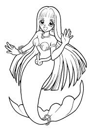 une sirène avec de longs cheveux coloriage pour enfants