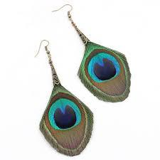 peacock feather earrings s women s peacock feather earrings bohemia drop feather earring