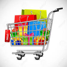 box cart illustration of cart full of shopping bag and gift box showing