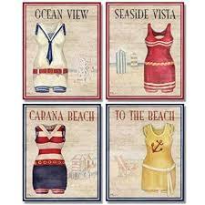 Vintage Beach Decor Amazon Com Wallsthatspeak 4 Vintage Bathing Suit Art Prints