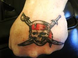 amazing pirate skull with two swords crossing tattoo on hand by