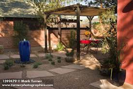 Backyard Shade Structures Steel Shade Structure Over Backyard Dining Area W Blue Jar