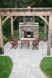 chic outdoor fireplace patio for luxury home interior designing