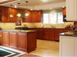 decor kitchen cabinets and pendant lighting with tile floors for