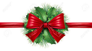 Green Decoration For Christmas by Red Silk Bow With Pine Border And Circular Ornamental Holiday