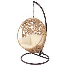 chaise suspendu fauteuil suspendu de jardin en résine tressée et coussin écru