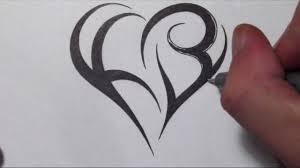 how to create a heart using letters tribal initials tattoo