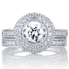 silver wedding ring sets karisma s halo cubic zirconia wedding ring set