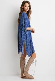 forever 21 abstract tile print kimono in blue lyst