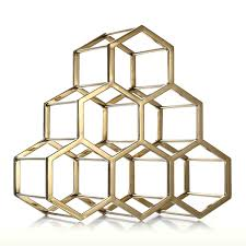 best and cheap golden honeycomb wine rack metal wine holder