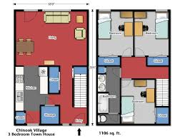 Three Bedroom Townhouse Bedroom Bath House Plans Story Plan Modern Houseplans Three
