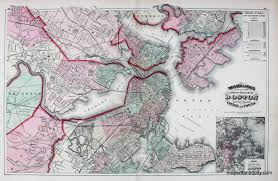 Map Of Boston by Walling U0026 Gray U0027s Map Of The Compact Portion Of Boston And The