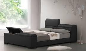 Black Leather Platform Bed Furniture Black Leather Platform Bed With Storage And Grey Bed