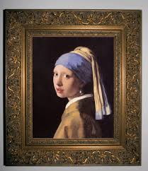 pearl earring painting vermeer the girl with a pearl earring gold framed canvas print