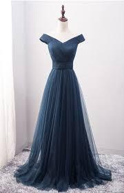 new arrival a line off shoulder navy blue tulle long prom dress