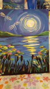 moonlit dragonfly painting http creativelyuncorked com
