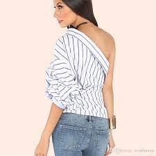 one shoulder blouse 2018 one shoulder blouse blue striped self tie slim